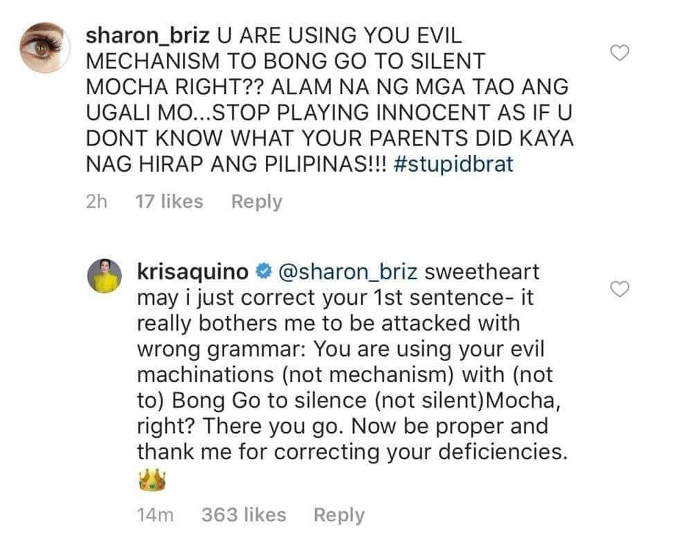 Kris Aquino lectures basher who criticized her & her late parents Cory & Ninoy