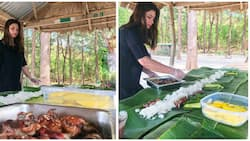 Hands-on talaga siya! Angel Locsin prepares boodle fight for her family