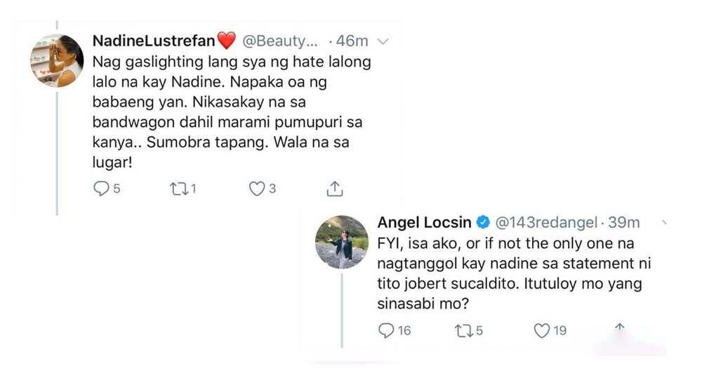 Angel Locsin, sinupalpal ang fan ni Nadine Lustre kaugnay sa mga pambabatikos sa aktres