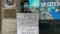 Edu Manzano's son goes viral after protesting alone in New York about PH gov't