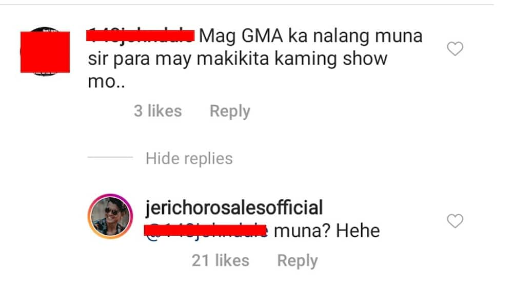 Jericho Rosales responds to netizen who told him, 'Mag-GMA ka na lang muna'